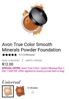 The Color Smooth Minerals Powder Foundation is amazing! Fall in Love with it like I did. Select True Color products on sale now- Buy 1, Get 1 for half off!! #AvonRep #TrueColor #MakeupSale