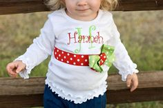 Merry Christmas  Monogrammed Ribbon Ruffle Shirt by donnajohagar, $25.00
