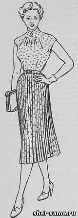 Платье с цельнокроенной стойкой, переходящей в клапан, и с подрезом в горловине - Сто фасонов женского платья - Всё о шитье - Шей сама