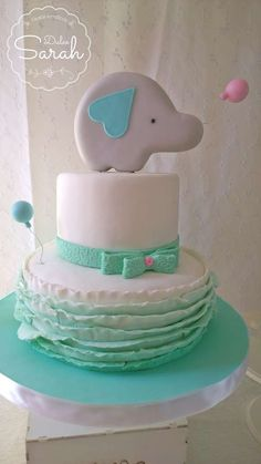 Elephant baby shower party ruffle cake! See more party ideas at CatchMyParty.com!