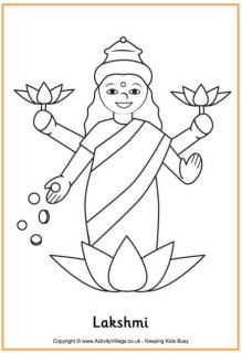 Children 39 s corner arts crafts coloring projects good for Lakshmi coloring pages