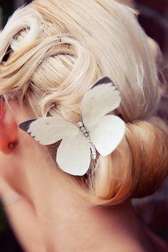 Hand cut silk butterfly hair clips - Bridal Trio