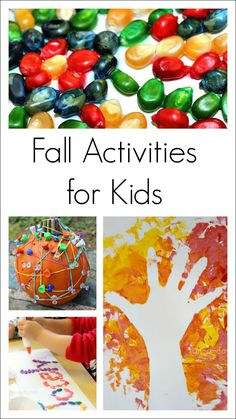 Collection of fun fall activities for young kids - arts and crafts, literacy, sensory, math, and science ideas
