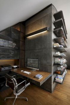 25 Trendy Loft Design Concepts You Want To Know Home Office Setup, Office Workspace, Loft Office, Desk Setup, Office Style, Workspace Design, Office Interior Design, Loft Interiors, Office Interiors