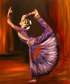 A stunning painting of a Bharatanatyam dancer. Indian Artwork, Indian Art Paintings, Abstract Paintings, Festival Paint, Composition Painting, Dancing Drawings, Indian Classical Dance, Dance Paintings, India Art