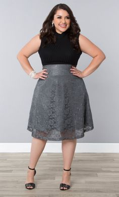 Limited Edition Shimmer Circle Skirt, Silver Shimmer (Women's Plus Size) From the Plus Size Fashion Community at www.VintageandCurvy.com