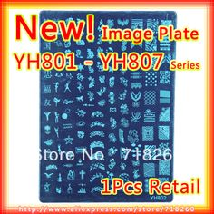 Retail 2013 New Nail Stamping Plates YH801 YH807 Konad Stamp Nail Art 21*14.5cm XL Size Image Plate Template Designer Hot Sell-in Nail Art T...
