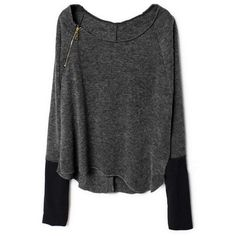 Zippered Dark Grey Jumper ($35) ❤ liked on Polyvore featuring tops, sweaters, shirts, jumper, zipper shirt, low tops, zip sweater, dark gray shirt and dark grey shirt