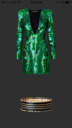 Green sequin embroidered dress