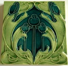 "VINTAGE ART NOUVEAU FLORAL ENGLAND TILE  6"" X 6"" MARKED L.T ENGLAND 2"