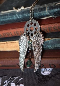 The Mortal Instruments Jewelry, Gear Necklace, Angel Wings Necklace, Steampunk Angel Wings, Steampunk Necklace, Shadowhunters Necklace,