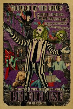 """Say it twice. But we dare you to say it THREE TIMES"""" Beetlejuice fan poster is shaking the juice Horror Movie Posters, Movie Poster Art, Horror Movies, Film Tim Burton, Beetlejuice Cartoon, The Rocky Horror Picture Show, Film Serie, Film 12, Horror Art"""