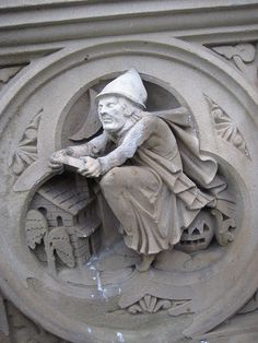 Witch on Broomstick Gargoyle 7419 by Brechtbug, via Flickr