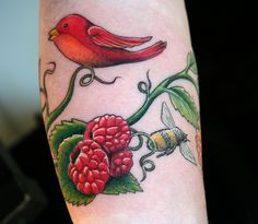 Tattoo - Bird, Berries, and Bee by micala, via Flickr