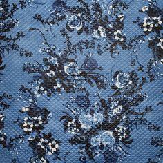 Diamond Quilted Denim Floral Print Cloqué Jersey | Floral Bomber Jacket Denim Floral, Floral Bomber Jacket, Diamond Quilt, Fabric Material, Floral Prints, Projects, Floral Jacket, Log Projects, Floral Patterns