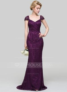Trumpet/Mermaid V-neck Sweep Train Zipper Up Cap Straps Sleeveless No Grape Spring Summer Fall General Plus Charmeuse Height:5.7ft Bust:33in Waist:24in Hips:34in US 2 / UK 6 / EU 32 Evening Dress