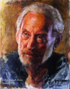 Game of Thrones, Lord Tywin Lannister, actor Charles Dance, portrait painting by Kristina Laurendi Havens