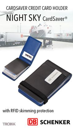 TROIKA NIGHT SKY CardSaver® - DB SCHENKER engraving. CardSaver credit card holder, with RFID skimming protection, TÜV-tested Cryptalloy® technology *** CardSaver Kreditkartenetui, mit Ausleseschutz, TÜV-geprüfte Cryptalloy® Technologie