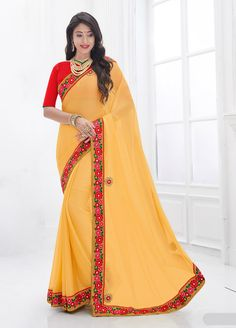 Stunning Moss Chiffon Yellow #Casual Wear #Saree