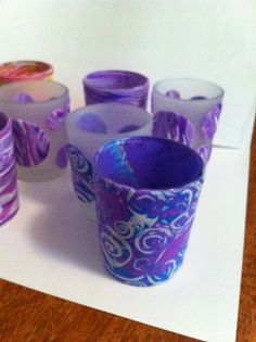 Polymer clay covered candle holders