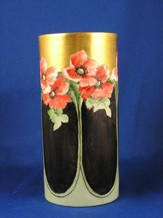 """Mavaliex (PM de M) Limoges Arts & Crafts Poppy Motif Vase (Signed """"A.E.B.""""/c.1908-1914)"""