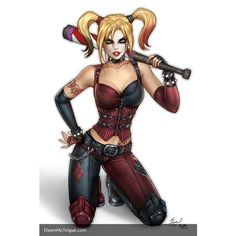 Arkham City Harley Quinn by Dawn-McTeigue ❤ liked on Polyvore featuring animals, books and dragon