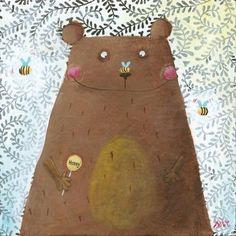 Bear and bees illustrations