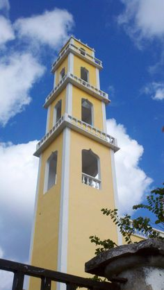 Corpus Christie catholic church bell tower in Cozumel, mexico......I have a picture of the inside of this...Beautiful!