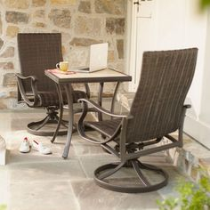 Add a dimension of style to your outdoor space with the Hampton Bay Pembrey 3-Piece Patio Bistro Set. The set includes one table and two chairs, ideal for morning coffee, light dining and entertaining company. With all-weather resin, rust-resistant steel and aluminum frames, and weather-resistant cushions and pillows, this set offers lasting durability outdoors.