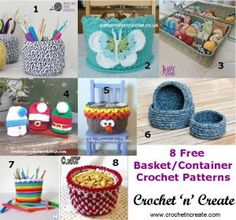 Roundup: 8 free crochet patterns for baskets, curated by CrochetNCreate | This weeks roundup is for 8 free basket crochet patterns, they can be used all around your home for all sorts of things like pens, crochet hooks