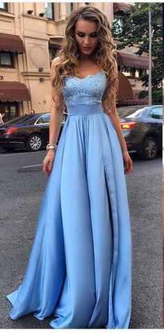 Long Prom Dress,Appliques Prom Dresses,Sexy Evening Dres,Blue Evening