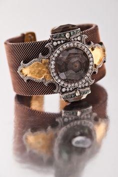 SEVAN BICKCI - Hagia Sophia, 2010  gold, silver, diamonds, smoky topaz with engraved intaglio inspired by Hagia Sophia