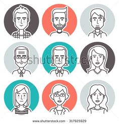 Men,women and children user pics icons for social media and web design. People Illustration, Line Illustration, Character Illustration, Digital Illustration, Illustrations, Web Design, Face Design, Icon Design, Doodle Art Journals