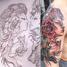 Neo Traditional Girl Tattoo by Isnard Barbosa NeoTraditional NeoTraditionalTattoos NeoTraditionalWoman NeoTraditionalGirl Neo Traditional Tattoo, Girl Tattoos, Tattoo Artists, Mermaid, Sketches, Tattoo Flash, Elegant, Faces, Beautiful