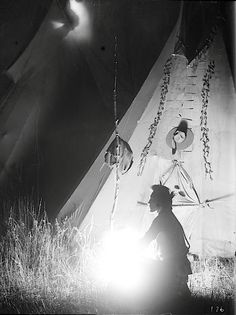 In Crow camp at night. Montana. Early 1900s. Photo by Richard Throssel.
