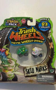 Trash Wheels Series 1 Skid Marks Green  Doggie Doo   and White Tear Away 2012  #MooseToys