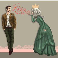 ستبقى بين اضلعي سرآ لا يعلم بگ سوى الله  H.. Girly M, Cute Couple Cartoon, Cute Couple Art, Girly Drawings, Couple Drawings, Cute Muslim Couples, Cute Couples, Sarra Art, Islamic Cartoon