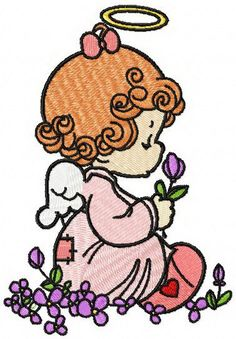 Angel with  flowers machine embroidery design