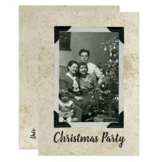 Christmas Party Old Fashioned Stained Photo Rustic Card - diy christmas xmas merry christmas cyo holidays family gift idea