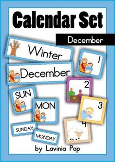 FREE Calendar Cards Set - December Nativity. Includes: Month Card, Season Card, Days of the Week cards, Number cards 1-31 (4 different sets). Great for calendar patterning!