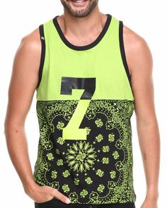 51251460f07bfa Buyers Picks - Men Lime Green Colorblock Bandana Print Tank Top Pink  Dolphin