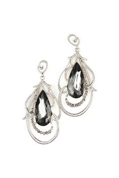 Large Stone And Filigree Earrings