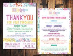 Floral LulaRoe clothing care card, Lula Roe thank you card, Lula Roe sales card, LulaRoe blitz, Lula Roe contact card, Lula Roe Rep card by TheWrightInvite on Etsy