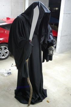 Build your own grim reaper. PVC and fabric, cheap!