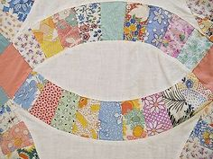 "Vintage Hand Sewn All Cotton WEDDING RING Quilt TOP; 83"" x 69""; Good !"