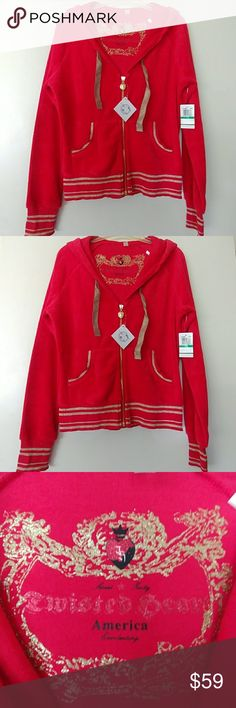 NWT TWISTED HEART ZIP UP HOODED JACKET SZ M NWT RED & GOLD TWISTED HEART HODDED ZIP UP JACKET.  RED VELOUR WITH GOLD ACCENTS AND LINED HOOD.  SIZE L BUT FITS LIKE M. TWISTED HEART Tops Sweatshirts & Hoodies