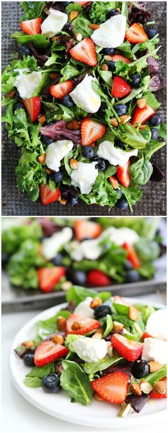 Berry, Burrata, and Almond Salad Recipe on twopeasandtheirpod.com Mixed greens with blueberries, strawberries, burrata cheese, and almonds. The perfect salad for the 4th of July!