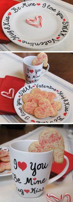 Valentine Sharpie Plate & Mug | DIY Valentine Gifts for Him | DIY Valentine Gifts for Boyfriend