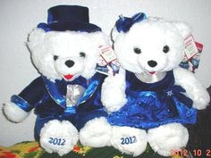 "2 Walmart Christmas Snowflake Teddy White Bear 2012 Girl Boy 20""Blue Outfit New 
