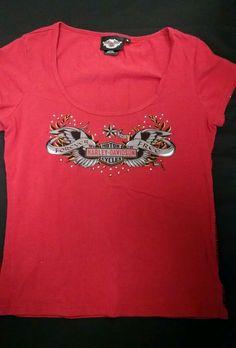 8534e877a6d3 Harley Davidson Ladies T Shirt M Logo Beads Rust Color Side Embellishment